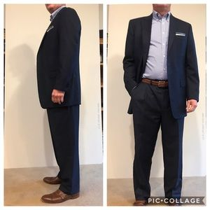 42Long- Cremieux Loro Piana Wool Navy Suit